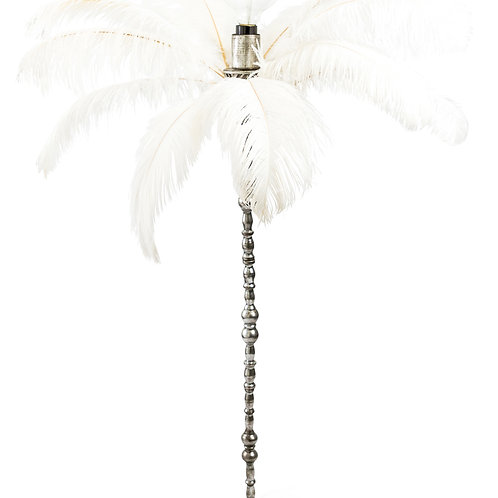 LARGE WHITE OSTRICH FEATHER TABLE LAMP ON SILVER BASE