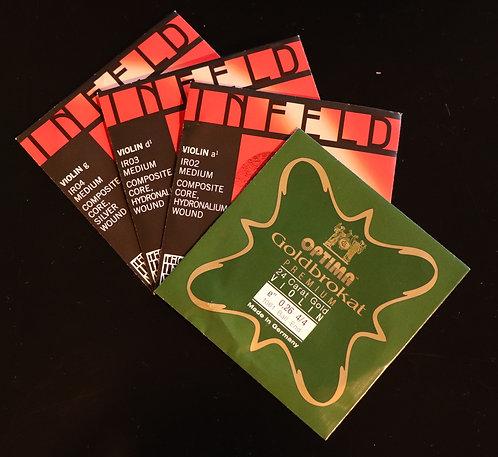 Infeld Red A, D, G & Goldbrokat Gold E set