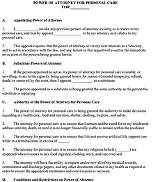 Power of Attorney for Personal Care - No