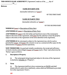 Commercial Property Lease Agreement - Of