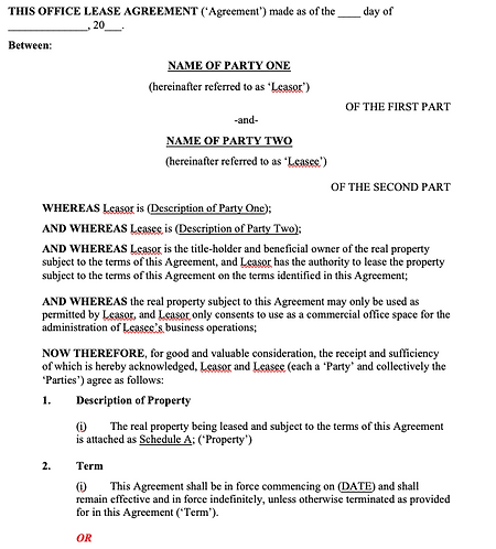 Commercial Property Lease Agreement