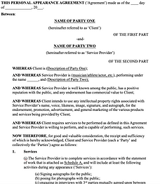 Personal Appearance Agreement - No logo.