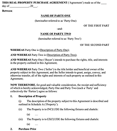 Real Property Purchase Agreement - No lo