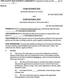 Talent Management Services Agreement - N