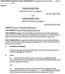 Storage Space Lease Agreement - No logo.