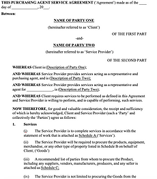 Purchasing Agent Service Agreement - No