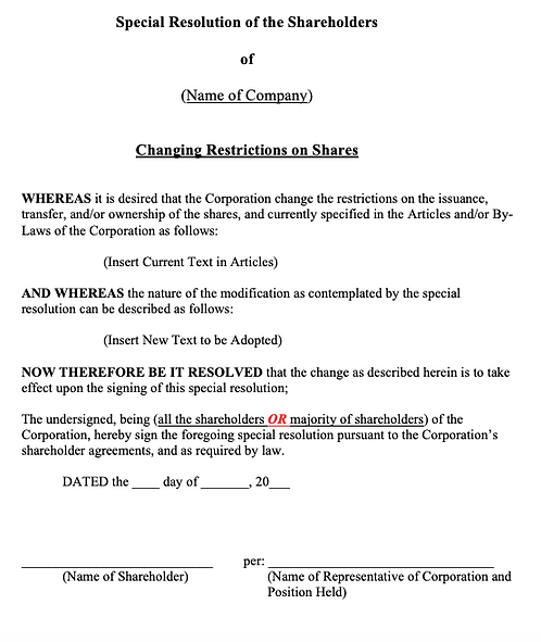 Special Shareholders' Resolution (Changing Restrictions on Shares)