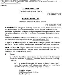 Home Healthcare Services Agreement - No
