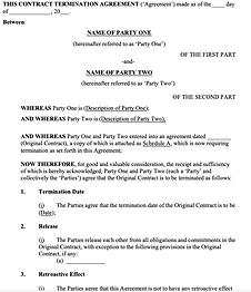 Contract Termination Agreement - No logo