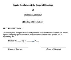 Special Directors' Resolution (General)
