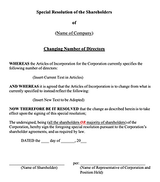 Special Shareholders' Resolution (Change