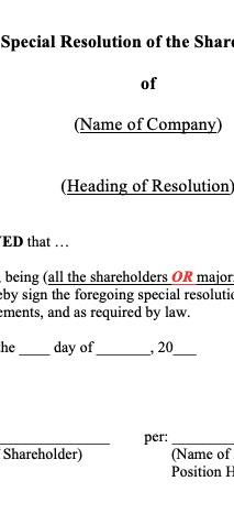 Shareholders' Resolutions