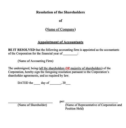 Shareholders' Resolution (Appointment of Accountants))