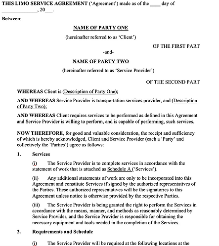 Limo Services Agreement