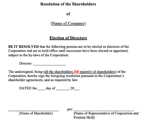 Shareholders' Resolution (Election of Directors)