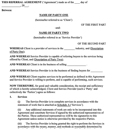 Referral Fee Agreement