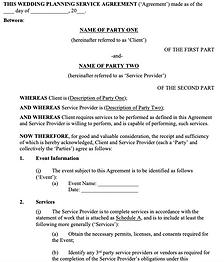 Wedding Planning Services Agreement - No
