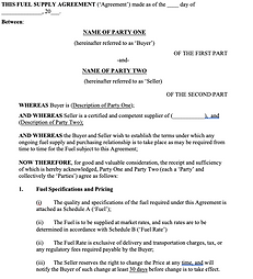 Sale of Goods Agreement (Fuel Supply) -