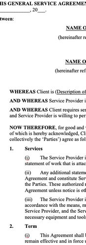 Services Agreements