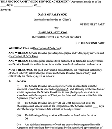 Photography and Video Services Agreement