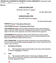 Commercial Property Lease Agreement - Re