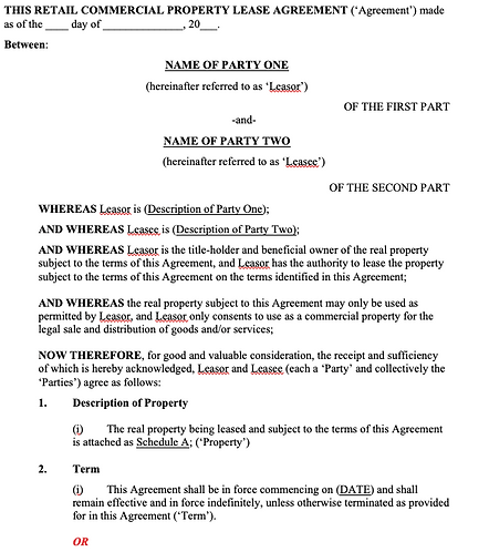 Commercial Property Lease Agreement (Retail)