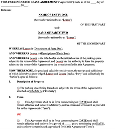 Parking Space Lease Agreement - No logo.