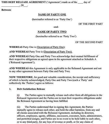 Debt Release Agreement