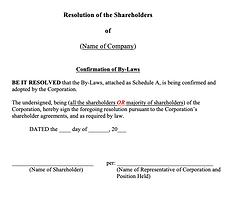 Shareholders' Resolution (Confirmation o