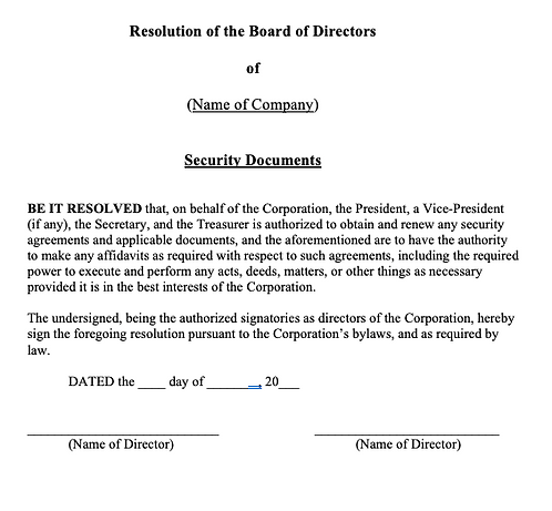 Director Register (Security Agreement)