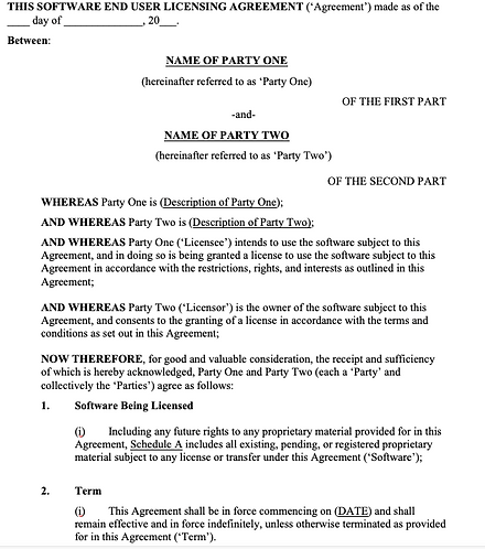 Software and End-User Licensing Contract