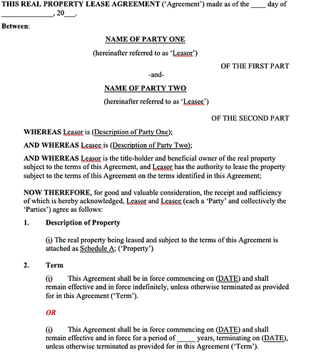 Real Property Lease Agreement