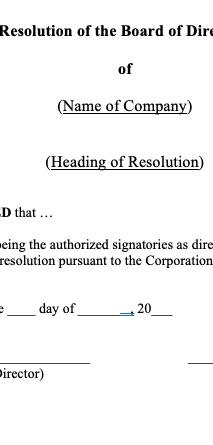 Directors' Resolutions