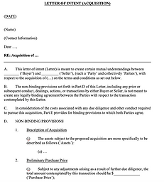 Letter of Intent (Acquisition) - No logo