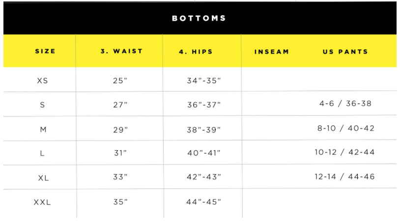 Body Glove Bottom Size Chart 2