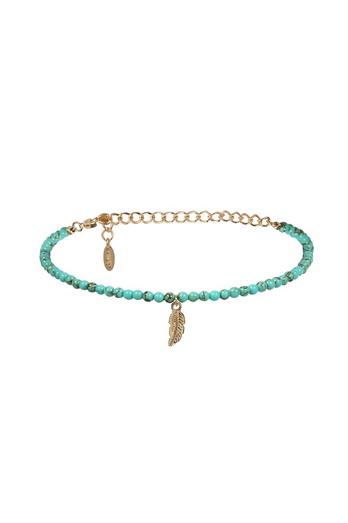 Feather Choker in Turquoise and Gold
