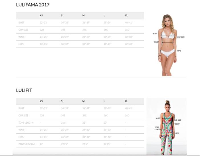 Luli Fama Size Chart