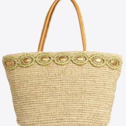 Handmade Bag with real leather and straw