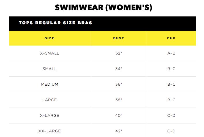 Body Glove Bras Size Chart