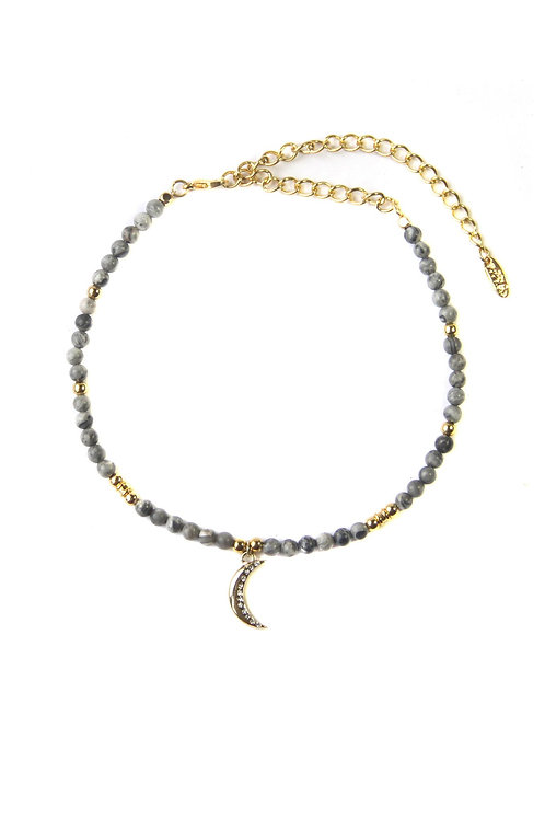 Over the Galaxy Choker in Grey Jasper and Gold