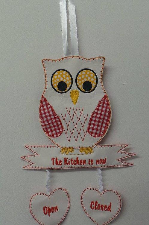 Kitchen Owl Door Hanger ITH Design