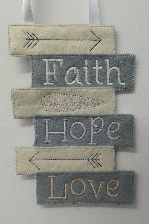 Faith, Hope, Love Wall Hanger Design