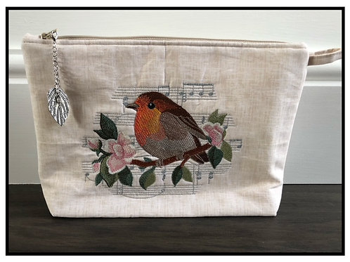 Embroidered Robin Zippered Pouch