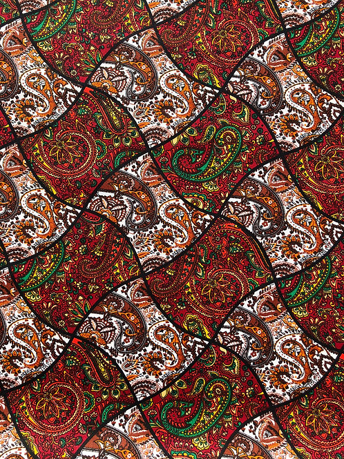 "100% Cotton Paisley Print Rust 44"" wide"