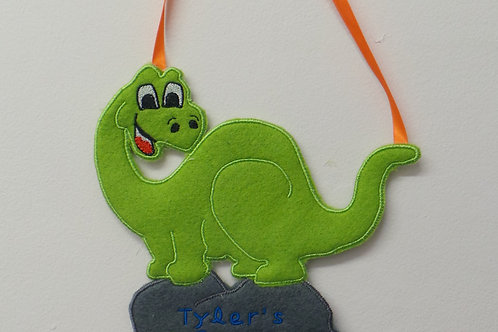 Personalised Dinosaur Door Hanger ITH Design