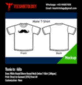 A4 DTG Print of Moustache White Cotton T-Shirt