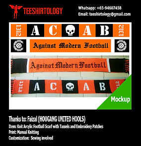 ACAB knit arcylic football scarf with tassels