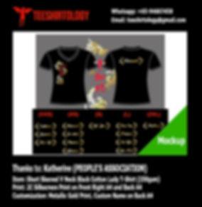 People's Association PAP Gold Screenprinting of Black Drifit V-Neck T-Shirt with Custom Name