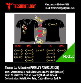 People's Association PAP Gold Screenprinting of Black Drifit V-Neck T-Shirt with Custom Name