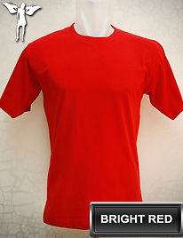 Bright Red t-shirt, kaos merah terang, red round neck t-shirt, red crew neck t-shirt